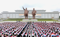 Floral Tributes to Statues of Kim Il Sung and Kim Jong Il